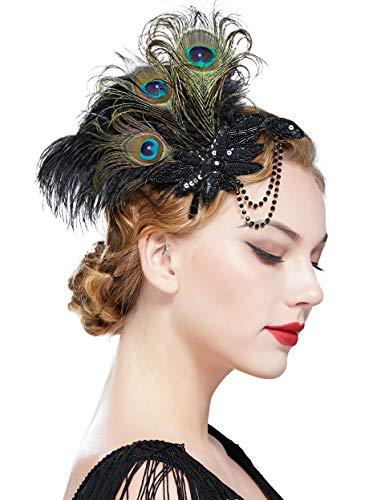Coucoland 1920s Haarclips Pfau Feder Stirnband Damen 20er Jahre Stil Elegant Haarspange Gatsby Kostüm Flapper Charleston Haar Accessoires (Stil 6 - Pfau Schwarz)