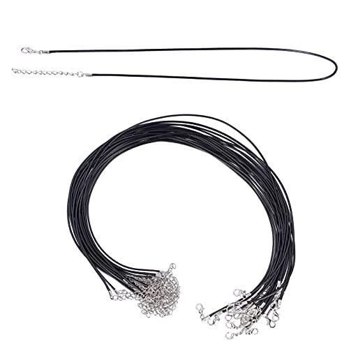 20 piezas de cuerdas para collar, cuerda encerada para colgar en cuerda con cierre duradero para accesorios de fabricación de colgantes de joyería DIY