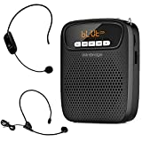Portable Voice Amplifier Wireless & Wired Headset Microphone Speaker Mini Lightweight Personal Classroom Mic for Teachers Supports AUX Input,Bluetooth 5.0,Recording - S278UHF