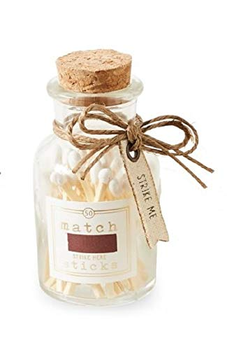 Mud Pie Small Match Sticks in Glass Bottle (White Matches)