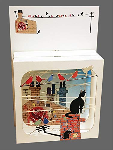 3D Multi-layered Magic Box Card - Cat on a Chimney