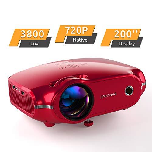"""Projektor, portabler Crenova Mini HD Beamer 1080P unterstützt, 3800 Lumen Beamer mit 200\"""" Bildgröße und für PC/MAC/DVD/TV/Xbox/Filme/Spiele/Smartphone mit kostenlosem HDMI-Kabel, Rot"""