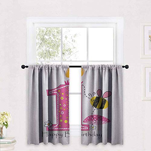 1st Birthday Window Curtain Fabric Cartoon Style Image with The Bees Party Cake and The Candle Print 30 x 30 inch Tier Curtains for Kitchen Windows café Curtains
