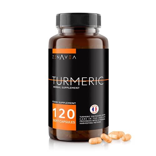 Suplementos Alimenticios Curcuma & Pimienta Negra - 120 Capsulas de Curcuma en Polvo Fáciles de Ingerir - Ideal para Vegano