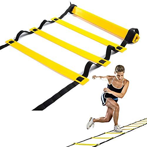 Escalera De Agilidad Portátil Salto Escalera De La Red Eléctrica De Fútbol Velocidad De Entrenamiento Escalera De Velocidad Gestor De Coordinación Orientación Fuerza 6M,Amarillo