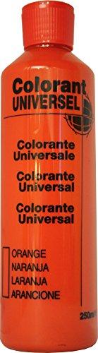 Orange Colorant Universel Concentré 250 ml pour toutes peintures décoratives et bâtiment. Grande compatibilité aussi bien en milieux solvant et aqueux. Convient également à la coloration des enduits , plâtres , et résines. Grande facililté de dosage grâce à son bouchon compte goutte