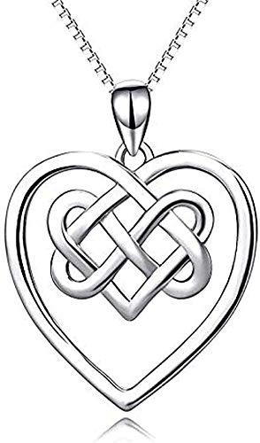 quanjiafu Collar Mujer S Collar Plata Corazón Colgante Plata Clavícula Celta Collar Mujer S Joyería para Mujeres Hombres Regalos Collar