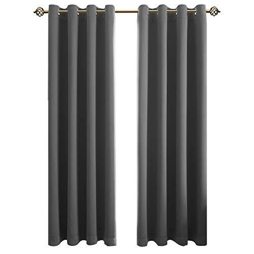 FLOWEROOM Blickdichte Gardinen Verdunkelungsvorhang - Lichtundurchlässige Vorhang mit Ösen für Schlafzimmer Geräuschreduzierung Grau 260x140cm(HxB), 2er Set