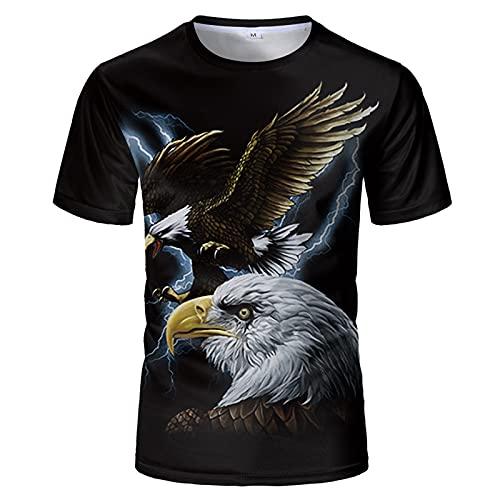 SSBZYES Camiseta para Hombre Camiseta De Verano De Manga Corta para Hombre Camiseta De Gran Tamaño Camiseta con Estampado De águila Camiseta Holgada De Manga Corta con Cuello Redondo Ropa De Pareja