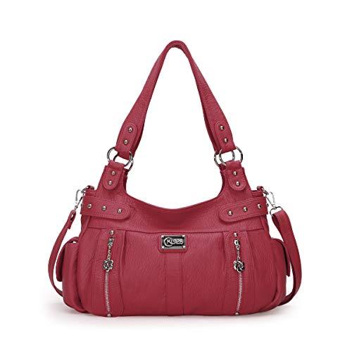 KL928 Damen Handtasche Lässige Schultertasche Umhängetaschen Hobo Taschen Henkeltaschen Leder für Arbeit Schule Shopper Rot (AK19244-3-red)