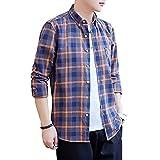 [Make 2 Be] メンズチェックシャツ 長袖 シャツ カジュアル 無地 シャツ ギンガムチェック ボタンダウン ネルシャツ アメカジ 春秋 ワイシャツ M~XL KB76 (24.Orange_3XL)