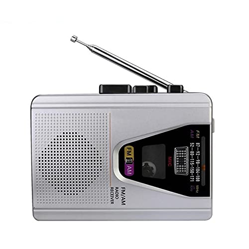 Radio portátil con grabación de cinta y modo de bucle de reproducción de 3,5 mm, conector de auriculares de operación simple, apto para actividades al aire libre, camping, viajes de difusión