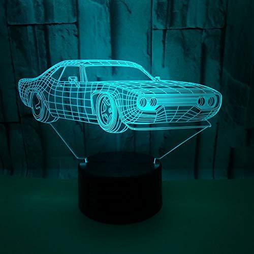 Luz nocturna de ilusión visual 3D, lámpara de mesa LED táctil con 7 cambios de color, lámpara de mesa con interruptor táctil con cargador USB, regalo para niños / coche