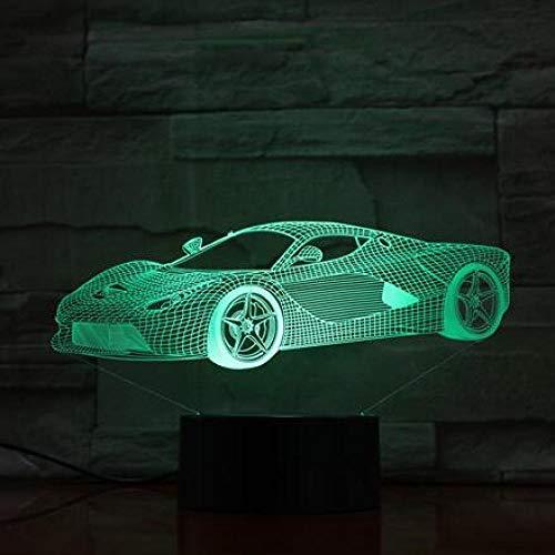 JJIEZZ Lámpara del Interruptor del Tacto del USB de la Forma del Tractor del Coche del Motor de la luz de la decoración 3D 7 Luz Colorida de la Noche-Coche 10_Cambio de 7 Colores