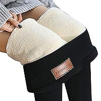 超厚手のカシミアウールレギンス防風性と保冷性のある暖かさ、冬の暖かい女性の伸縮性レギンスパンツフリース裏地付き厚手のタイツ (Color : Black-A, Size : 5XL)