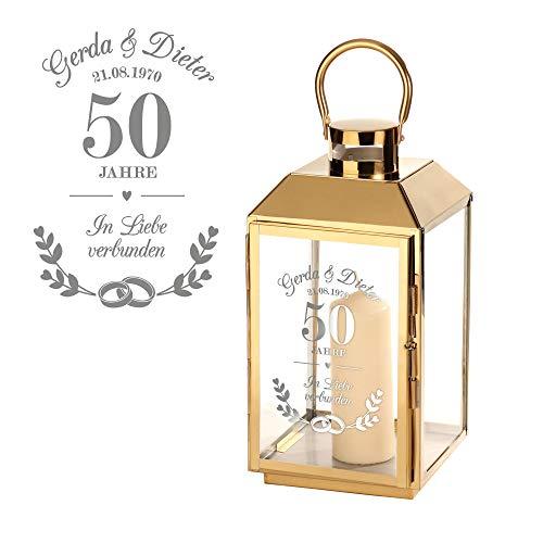Casa Vivente Laterne aus Goldfarbenen Edelstahl mit Gravur zur Goldenen Hochzeit, Personalisiert mit Namen und Datum, Deko Windlicht als Geschenkidee für Ehepaare zum 50. Hochzeitstag
