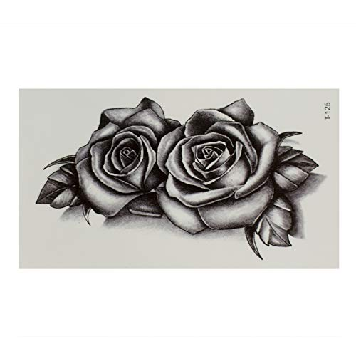 2 x Rosen Tattoo in schwarz - Realistic Style - Temporary Body Tattoo - T125 (2)