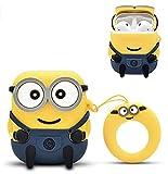 Carcasa de silicona con diseño de Minions, compatible con Airpods 1 y 2 3D de dibujos animados [Idea regalo para niños pequeños] (Minions con dos ojos)