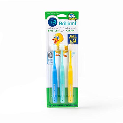 Brilliant Baby Toothbrush by Baby Buddy - for Ages 4-24 Months, BPA Free Super-Fine Micro Bristles Clean All-Around Mouth, Kids Love Them, Blue-Mint-Yellow, 3 Count