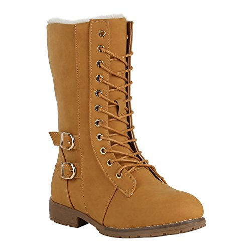 Damen Schnürstiefel Warm Gefütterte Stiefel Winter Schuhe Profil 151609 Hellbraun Schnallen 36 Flandell