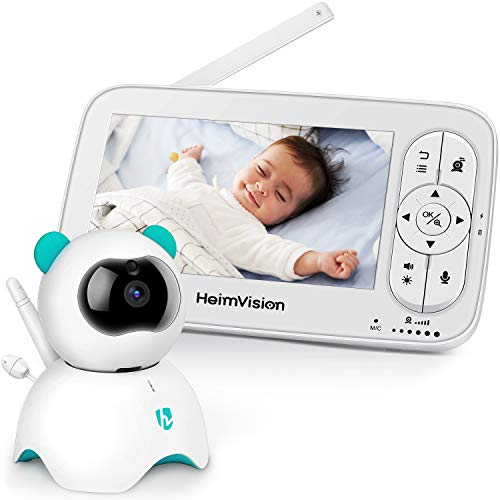 HeimVision Babyphone mit Kamera, 5-Zoll-LCD-Babyphone, HD 720P-Video, Zwei-Wege-Audio, Temperatur- und akustischer Alarm, Nachtsicht, Wiegenlied, 110 ° Weitwinkel, bis zu 300 m Reichweite