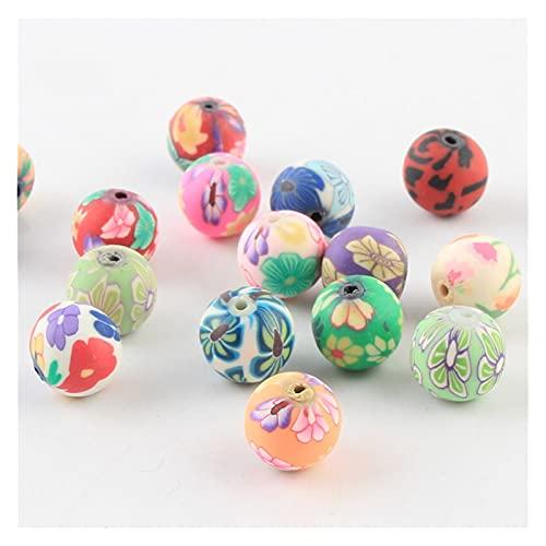 NTZ 6-12 mm DIY mezcla colores arcilla polimérica perlas patrón de flores impresión redondo cuentas espaciador suelto para hacer joyas YC0503 (diámetro del artículo: 6 mm 100 piezas)
