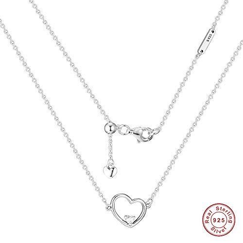 MOCCI 2019 Saint Valentin Cadeau asymétrique Coeur de Collier d'amour Argent 925 DIY Convient pour L'original Pandora Bracelets Bijoux Femmes