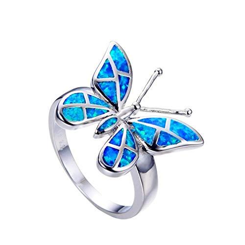 YAZILIND Plata Anillo de Boda Mariposa Forma Azul ópalo declaración Anillos Damas Aniversario joyería(tamaño 14,5)