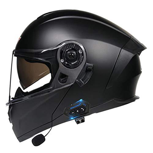 Bluetooth Integrado Casco de Moto Modular con Doble Visera Cascos de Motocicleta ECE Homologado a Prueba de Viento para Adultos Hombres Mujeres Abatible Casco B,XL