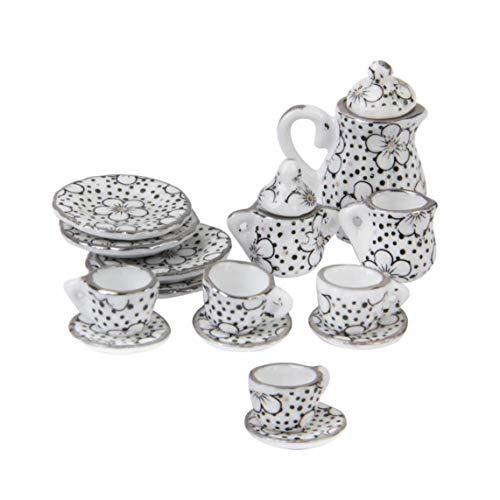 1/12 Dollhouse Juegos de té en miniatura del patrón de porcelana taza de té plato placa de cocina Conjunto de muebles de casa de muñecas para los niños ornamento regalo del cumpleaños y de Navidad