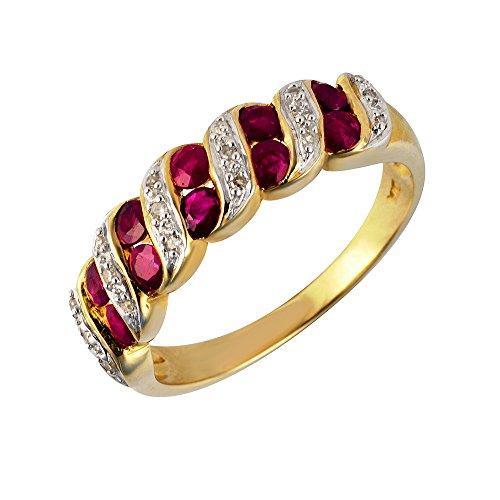 Ivy Gems - Anello a mezza veretta in oro giallo 9k, con diamanti e rubini, oro giallo, 65 (20.7), cod. 133R4272-08/AMV