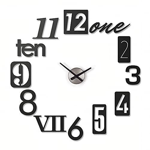 Bluelander Reloj de Pared 3D Acrílico Alta Calidad, Ajustable de 20 a 50 cm para Habitación, Sala, Comedor, Oficina, Altamente Silencioso, Uso Prolongado de Batería, Fácil de Leer, Adherible a la Pared (Modelo 4)