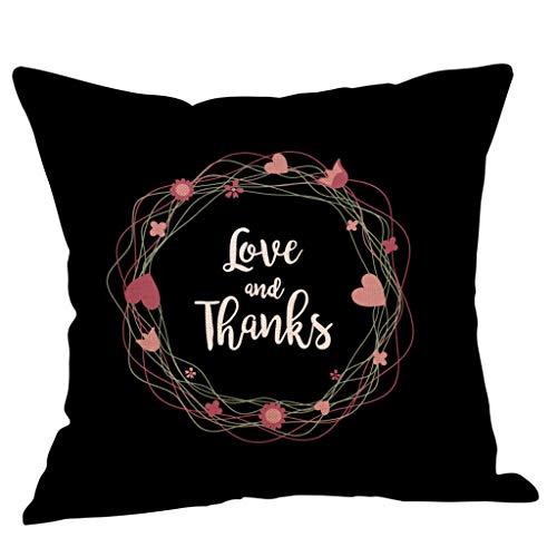 Yvelands Saint Valentin Style Lin Carré Taie d'oreiller Imprimé Romantique Doux Coussins Lombaires Coussins RelèVe-Jambes(B)