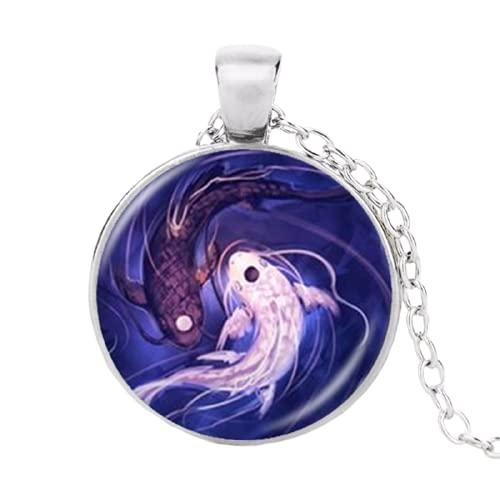 Yin Yang collar de pescado Ying y Yang Tai colgante joyería taoísmo chino ocho diagramas patrón joyería cristal cúpula gargantilla