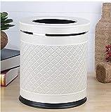ZHS Cubo de Basura de Cuero + Metal Cubo de Basura Redondo Cubo de Cocina con...