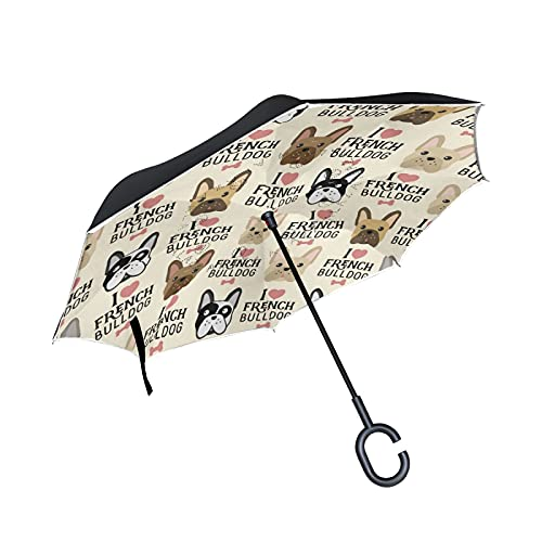 Oyihfvs I Love French Bulldogs Seamless Vintage Style Large Inverted Umbrella, Rain Reverse Sun Parasol, Strong Double Layer Car Umbrella with UV Protection Upside Down with C-Shaped Handle