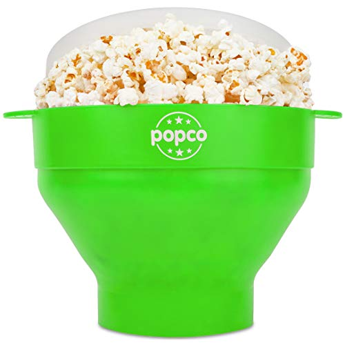 The Original Popco Silicone Microwave Popcorn Popper with Handles, Silicone Popcorn Maker, Collapsible Bowl Bpa Free and Dishwasher Safe - 15 Colors Available (Green)
