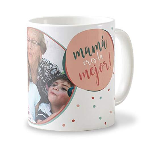 Getsingular Tazas Personalizadas con Tus Fotos para el Día de la Madre | Tazas de cerámica Elige Entre Varios diseños | Frase Mamá Eres la Mejor!