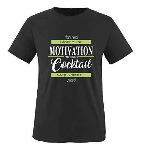 Comedy Shirts - Manchmal läuft Meine Motivation mit einem Cocktail nackig über die Wiese - Herren T-Shirt - Schwarz/Weiss-Grün Gr. XXL