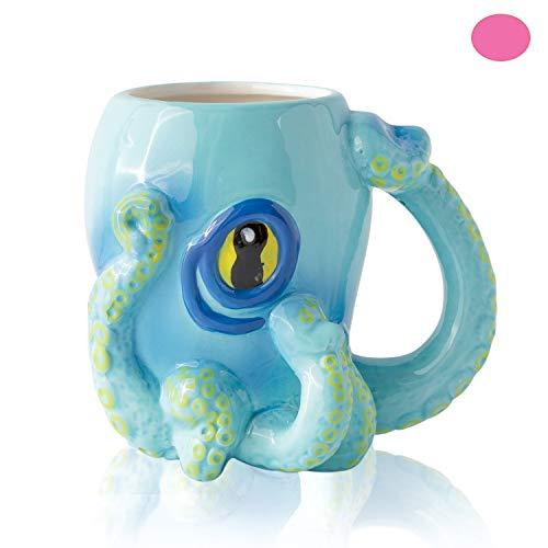 Comfify Oktopusblauer Keramik-Kaffeebecher - wie in Criminal Minds gesehen - mit 8 3D-Tentakel-Henkel und großem Auge Cthulhu-Spieler und -Fans - 12 oz.