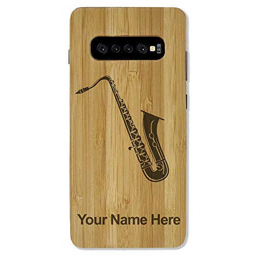 Case Compatible with Galaxy S10 Plus, Saxophone, Personalized Engraving Included (Bamboo)