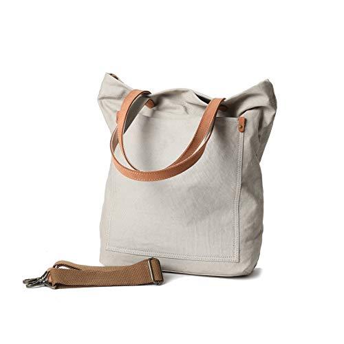 Canvas Transport Tote Handbag Shoulder Crossbody Bag For Men & Women Double Genuine Leather Handles (Medium Beige)