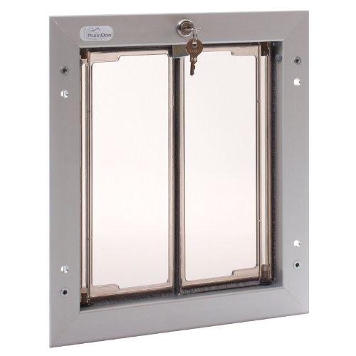 PlexiDor Performance Pet Doors for Dogs and Cats - Door Mount Dog Door with Lock and Key - Silver, Medium Sizes