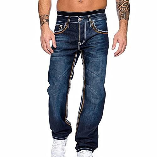 N\P Pantalones vaqueros de los hombres Otoño Denim Pantalones Slim Straight DarkBlue Regular Fit