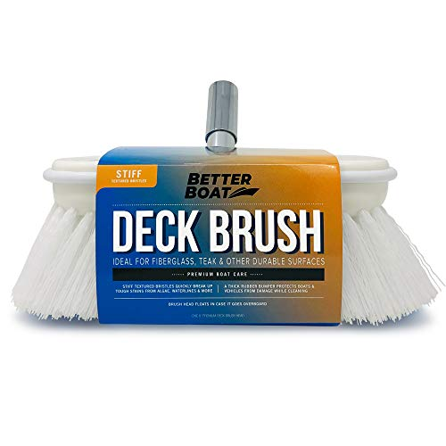 """Better Boat Deck Brush Firm Stiff Bristle 8"""" Head Scrub Cleaning with Bumper Hard Cleaner"""