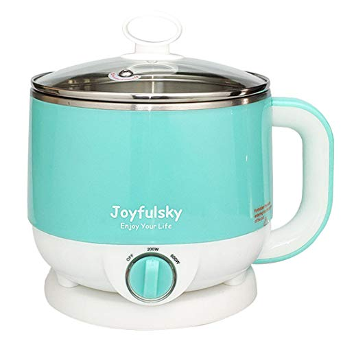 Joyfulsky 1.5L Electric Hot Pot Green Color 304 Stainless Steel Pot Student Pot Mini Cooker...