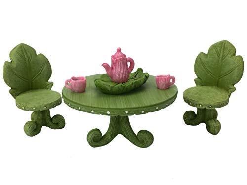GlitZGlam Miniatur-Fee Gartenmöbel Set: Blatt Bistro Set mit Tee-Set für Feen und Gartenzwerge