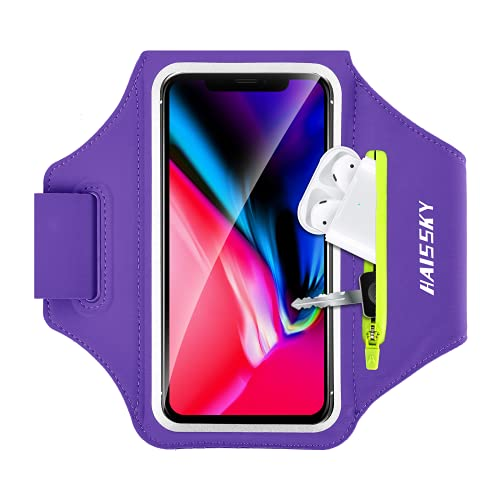 Brazalete Deportivo para Correr con Airpods Holder, Brazalete Móvil Deportivo para iPhone 11 Pro MAX/ 11 Pro/XS MAX/XR/ 8 Plus/ 8 Galaxy S9/ S8 Plus Huawei P20 hasta 6.8'- Morado