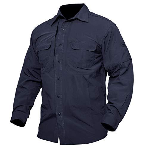 MAGCOMSEN Herren Langarm Hemd US Army Shirt Atmungsaktiv Langarm Hemd Herren Funktionshemd Leicht Arbeitsshirt Quick Dry Taktisch Hemd Safari Hemd Tropenhemd Dunkelblau XL