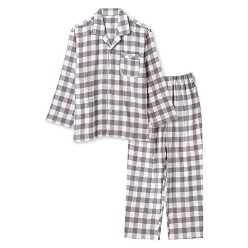 綿100% 長袖 メンズ パジャマ 冬 ふんわり柔らかい2枚仕立ての厚手生地で暖かい ダブルガーゼ起毛 前開き シャツ ブロックチェック柄 おそろい グレー 3L